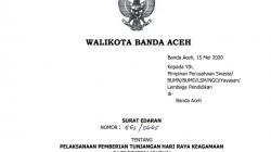 Walikota Banda Aceh Mengeluarkan Surat Edaran Tentang Pelaksanaan Pemberian Tunjangan Hari Raya Keagamaan Bagi Pekerja/Buruh